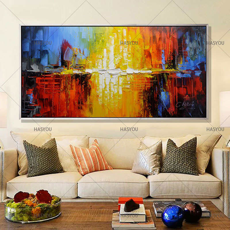 Groovy Us 26 52 49 Off 100 Handmade Oil Painting On Canvas Modern Abstract Decorative Art Living Room Home Decor Best Gift Large Art Cheap Paintings In Home Interior And Landscaping Ologienasavecom