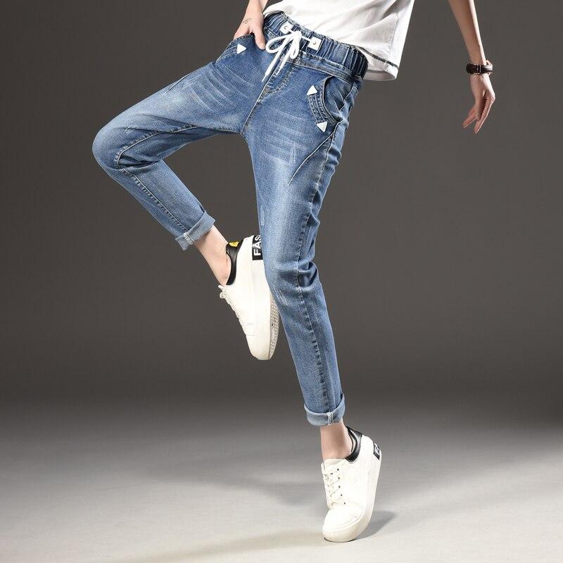 women's   jeans   girls fashion trousers black   Jeans   Elastic Waistband woman full loose denim pants boyfriends Cheap wholesale