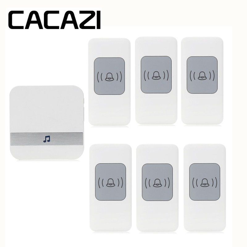 CACAZI Smart Sensor Wireless Waterproof Doorbell Battery Button Household Ringbell 52 Songs 300M Remoto Receiver 75-250V US Plug cacazi waterproof wireless battery button doorbell smart sensor 300m remoto receiver 75 250v us plug household ringbell 52 songs