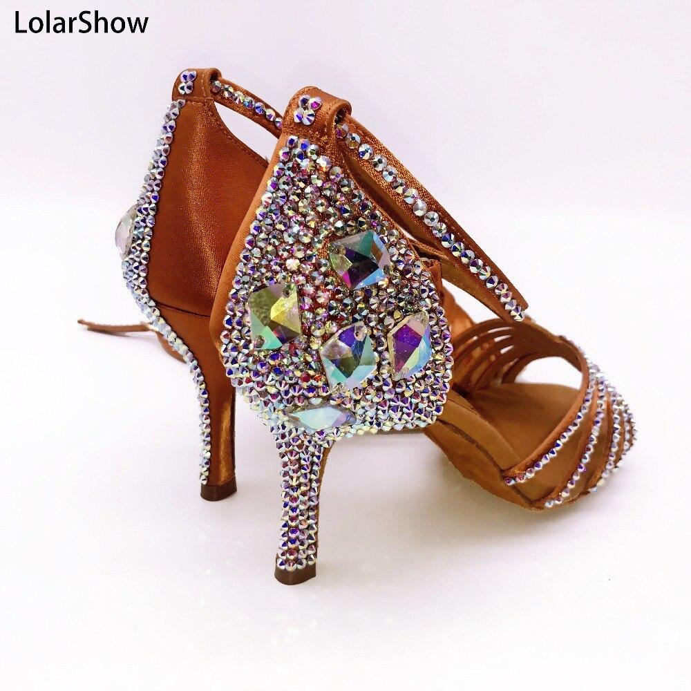 Femmes salle de bal chaussures de danse latine strass Salsa Tango Social pour dames talons 3.5/4.5/5.5/7.5/8.5cm fille Profession danse
