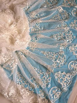 Embroidered African White Lace Fabric High Quality sequins nigeria lace cord lace french tulle net lace for wedding dress