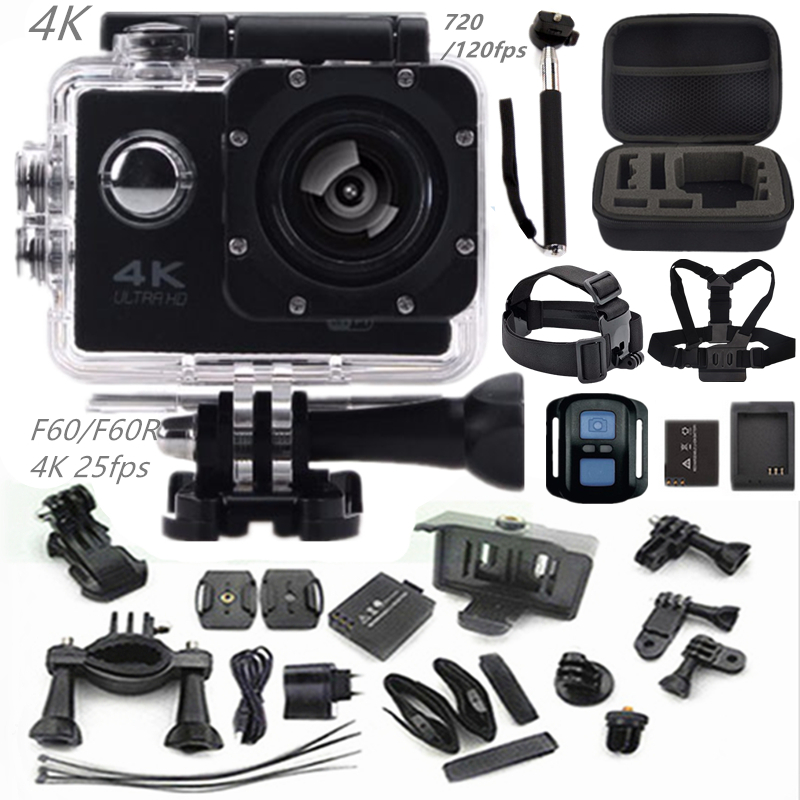 "Action camera F60R/F60 2.0"" 4K 1080P HD  wifi sport camera waterproof 30m go camera pro style+extra battery mini Pro camera cam"