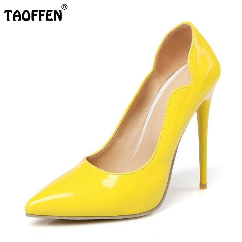 TAOFFEN Size 34-47 Sexy Shoes Woman High Heels Women Pumps Stiletto Thin Heel Woman Shoes Pointed Toe High Heels Wedding Shoes taoffen women high heels shoes women thin heeled pumps round toe shoes women platform weeding party sexy footwear size 34 39