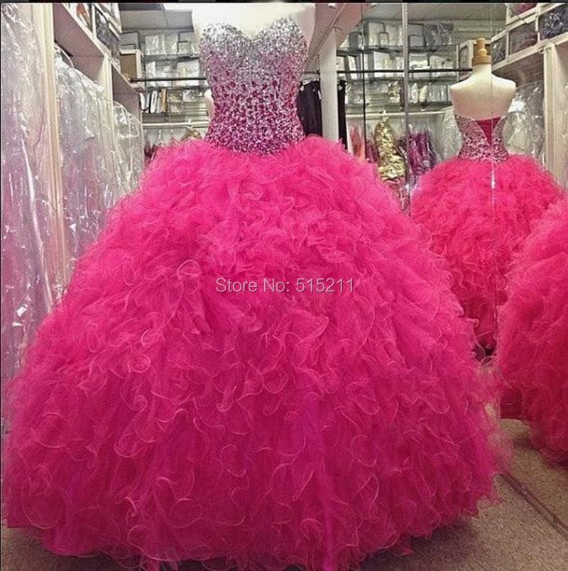 Hot Pink Sweetheart partida Crystal quinceañera vestido 15 anos ...