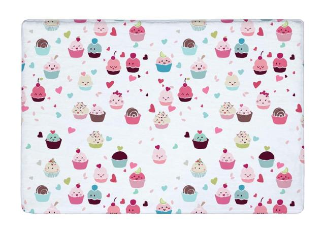 Floor mat cute love cupcakes food seamless print non slip rugs carpets for indoor outdoor
