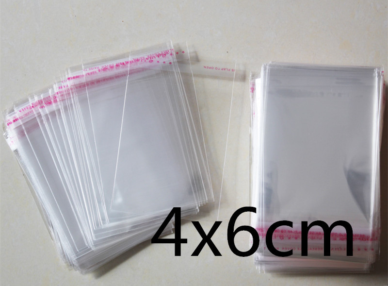 1000 PCS 4x6cm 4*6cm Packaging Self Adhesive Bags Plastic OPP Clear Pack Jewelry Gift Bag 1.6*2.4inchs