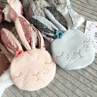 Kawaii Baby Girls Messenger Bags Fashion Cartoon Rabbit Coin Purses Bags Accessories Princeness Cotton Sequined Shoulder