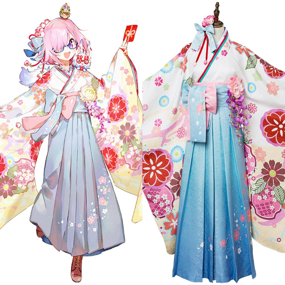 Fate Grand Order Cosplay Mash Kyrielight Kimono Costume Outfit Adult Women Full Set Halloween Carnival Cosplay Costume anime fate grand order ibaraki doji kimono uniform cosplay costume halloween clothes full set for women free shipping