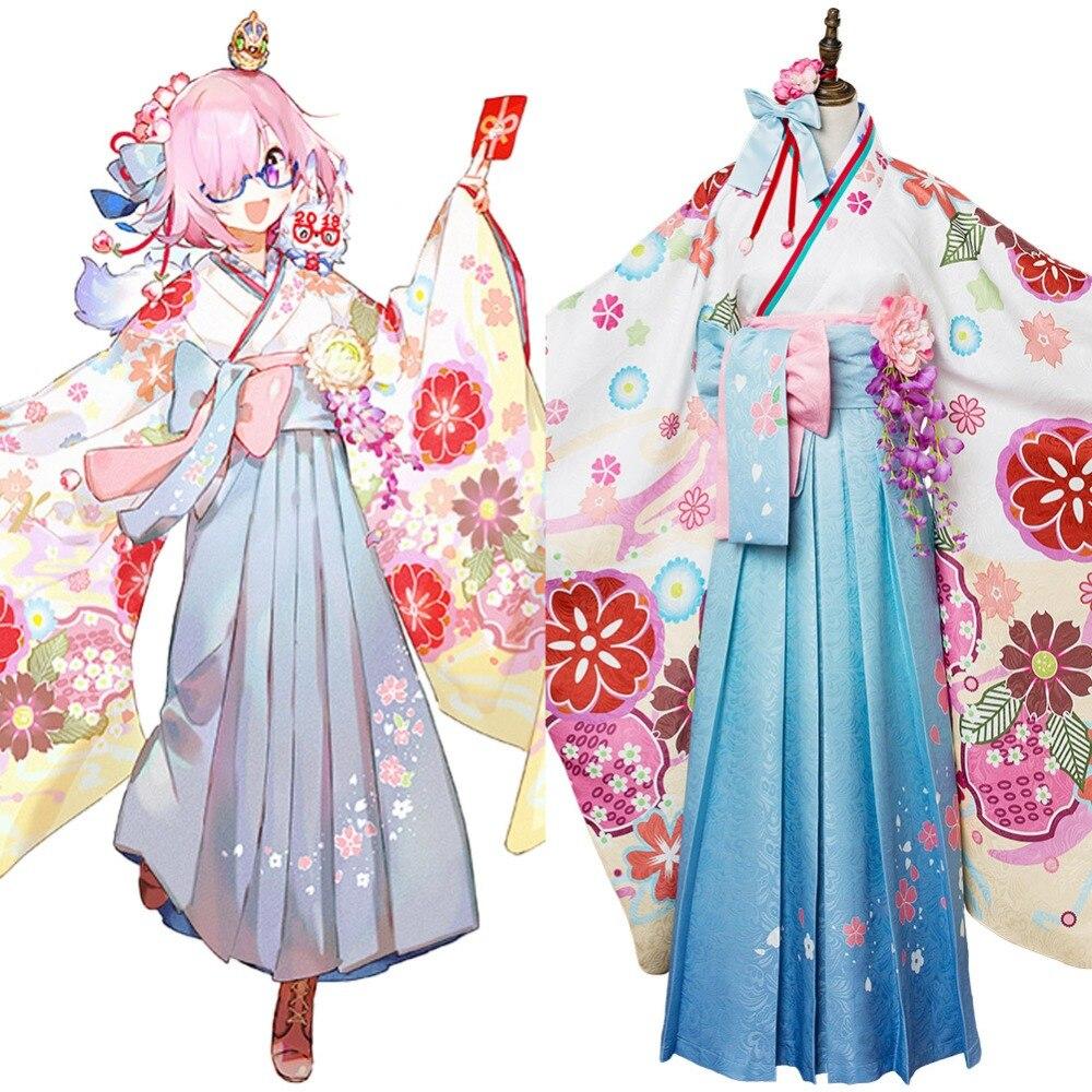 Fate Grande Ordine Poltiglia Kyrielight Kimono Cosplay Costume Outfit Donne di Età Full Set Halloween Carnevale Cosplay Costume