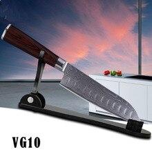 "LD 7 ""pulgadas Japonés VG-10 acero Damasco cuchillos de cocina afilado cuchillos de cocinero santoku cuchillo con mango de madera envío gratis"
