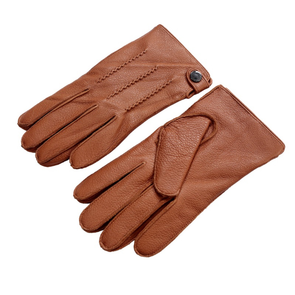 Luxury Men's Touchscreen Texting Winter Deerskin Leather Gloves - Apparel Accessories