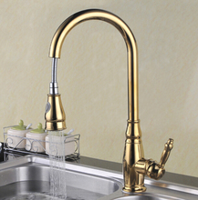 Free shipping Water Saver Filter Swivel Robinet Para Torneira Gold Kitchen Faucet With Pull Out Spray Sink Mixer Taps KF092