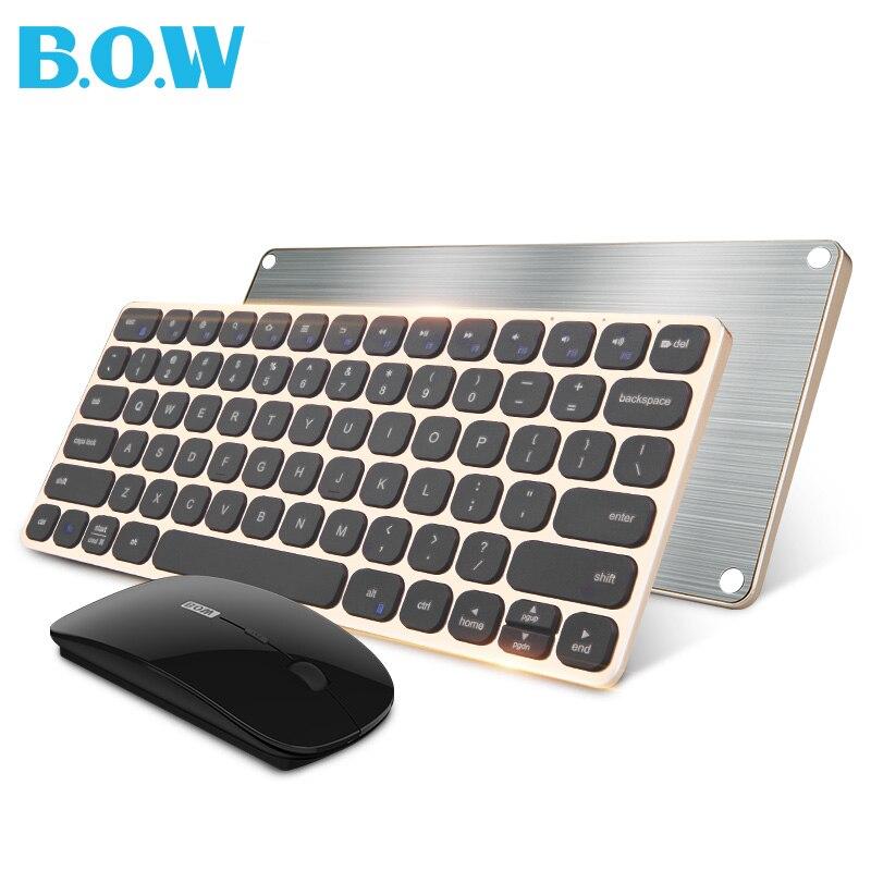 B.O.W 2,4 г (и тихую) клавиатура и Мышь комбо, металл тонкий Беспроводной клавиатура и оптическая Мышь для рабочего стола, ноутбук,