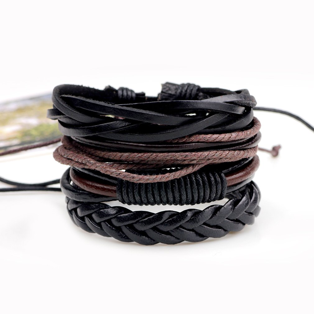 4pcs/lot Vintage PU Leather Braided DIY Men Black Brown Handmade Casual Bracelets Fashion Stylish Jewelry Accessories 2018 New