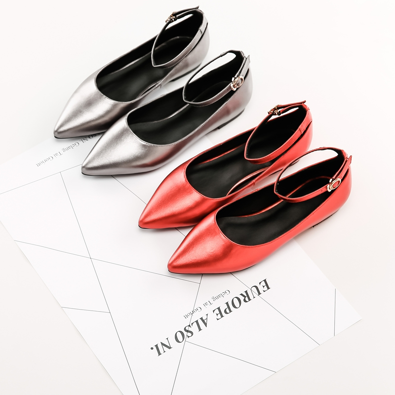 Spring women red shoes flat pointed toe genuine leather high 2017 new woman shoes high quality casual flats big size 41 42 43 2017 fashion women shoes woman flats high quality casual comfortable pointed toe rubber women flat shoes plus size 35 42 s097