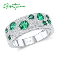 925 Sterling Silver Green Nano White Cubic Zirconia CZ Ring