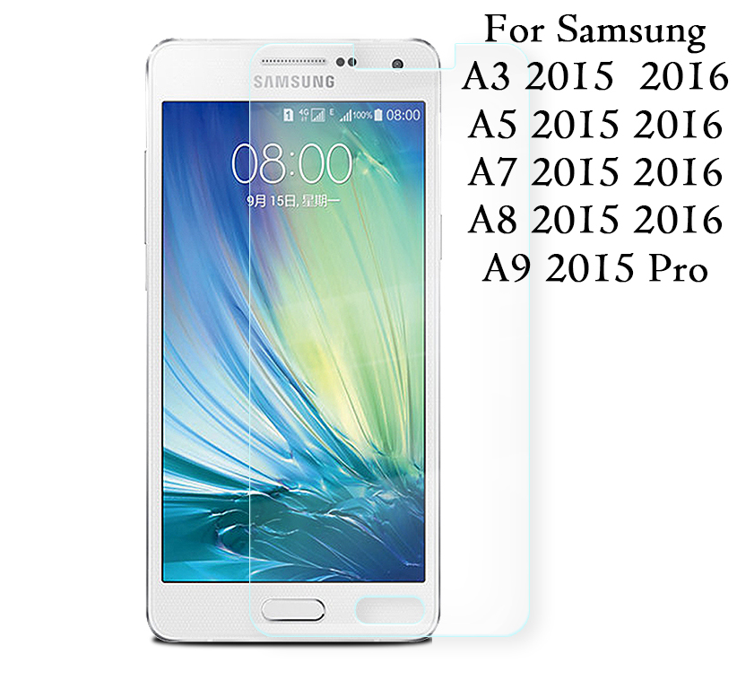 Tempered Glass screen protector Film 9H for Samsung Galaxy <font><b>A3</b></font> A5 A6 A7 A8 A9 2015 J1 J2 J3 J5 J7 Glass Arc Edge 2.5D 0.3mm