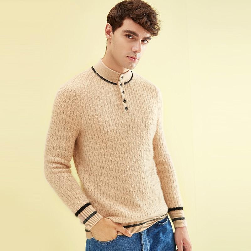 2018 New Autumn Winter Sleeve Long Collar Buttons Cashmere Sweater