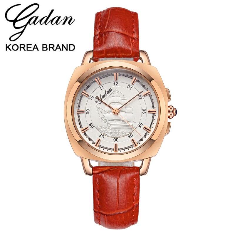 Лидирующий бренд Дамская мода кварцевые часы женские кожаные повседневные платья женские часы цвета розового золота цифровой Reloje Mujer 2017 ...
