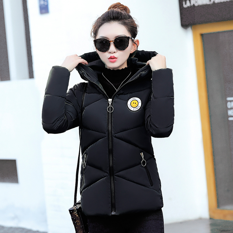 2017 Autumn Winter New Female Casual Slim Cotton-padded Coats Women Short Hooded Simple Long Sleeve Zipper Parkas LA1013B#12702 yi la 2017 new winter women coats