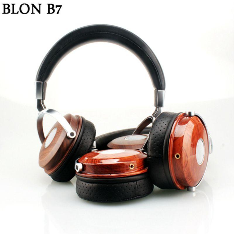 BLON BOSSHIFI B7 Wooden Over Ear Headset With Beryllium Alloy Driver Metal Headphones Mahogany DJ Music Games Earphones for PC