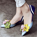 Pointed Toe Women Wedding Dress Shoes Mid Heel Flowers Decor Women Pumps Beading Valentine Shoes Woman Chaussure Femme