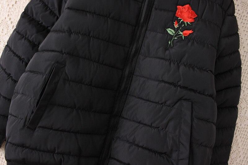2019 зимняя куртка с хлопковой подкладкой, большие размеры 3XL 4XL, Женская куртка с цветочными нашивками, Женское зимнее пальто 5XL, Женская куртка бомбер, парки - 5