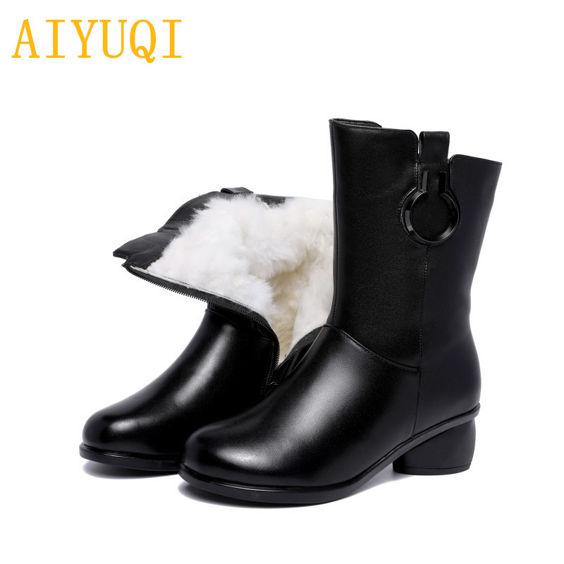 AIYUQI 2018 new genuine leather female winter boots, warm wool lining big size 41 42 female motorcycle boots, luxury women shoes aiyuqi big size 42 100% natural genuine leather female flat shoes 2018 spring new ladies shoes comfortable nurse shoes female