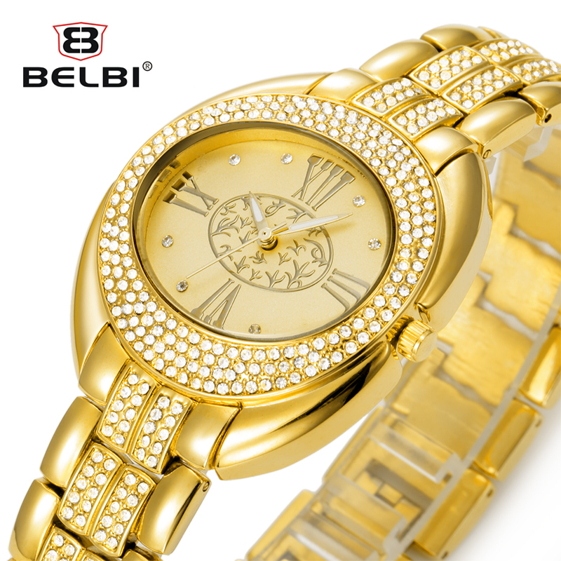 Belbi Women Watch Ladies Oval Alloy Steel Quartz Klockor Klänning Quartz-Watch Rhinestone Roman Art Guld Lyx Armbandsur Relojes