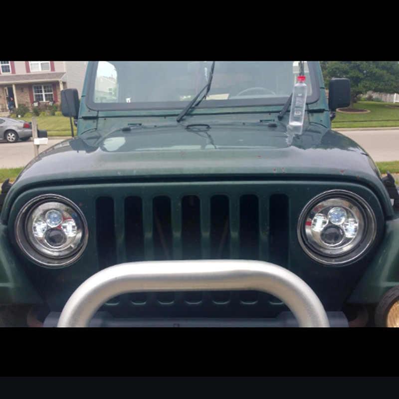 """For Lada 4x4 urban Niva 7"""" Chrome LED H4 headlight  lamps headlamp for Jeep Wrangler JK TJ LJ Land Rover Defender"""