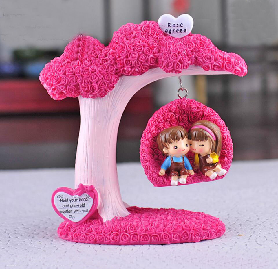 Pink Rose Tree Couple Play On The Swings For Home Hotel Office ...