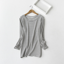 stripe Spring Three Quarter Sleeve Female T-Shirts Cotton Summer Women T Shirt Loose Casual T-Shirt Girl Tops(China)