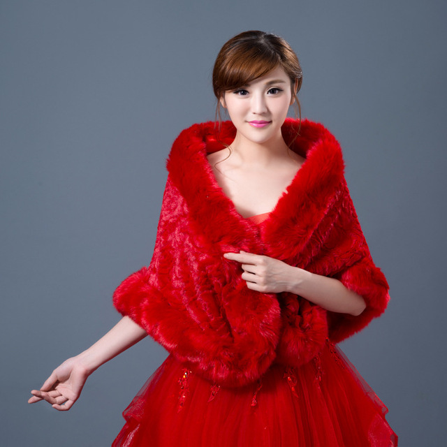 2016 new winter fur shawl bride warm Wool vest rose thickening women winter faux fur shawl