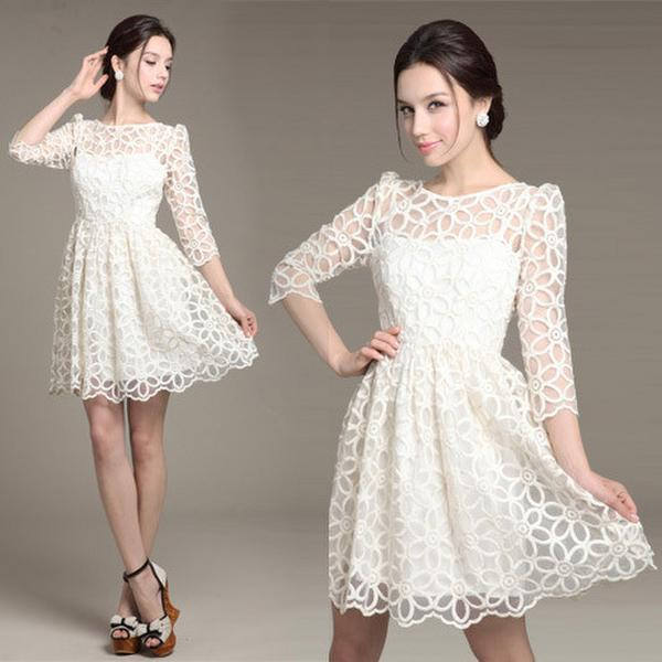 Long Sleeve White Lace Dress Mid Length Back Short Front Wedding