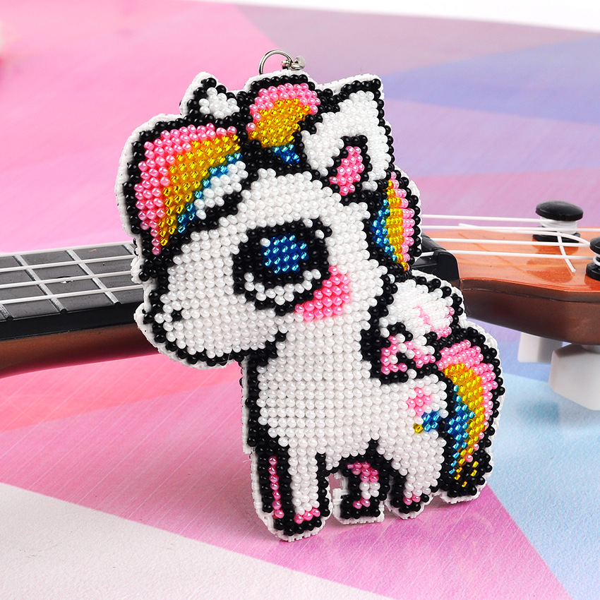 Diy Cross Embroidered Full Pearl Embroidery Keyboard Precision Printing Small Lattice Bead Hanging Parts White Dragon Wholesale