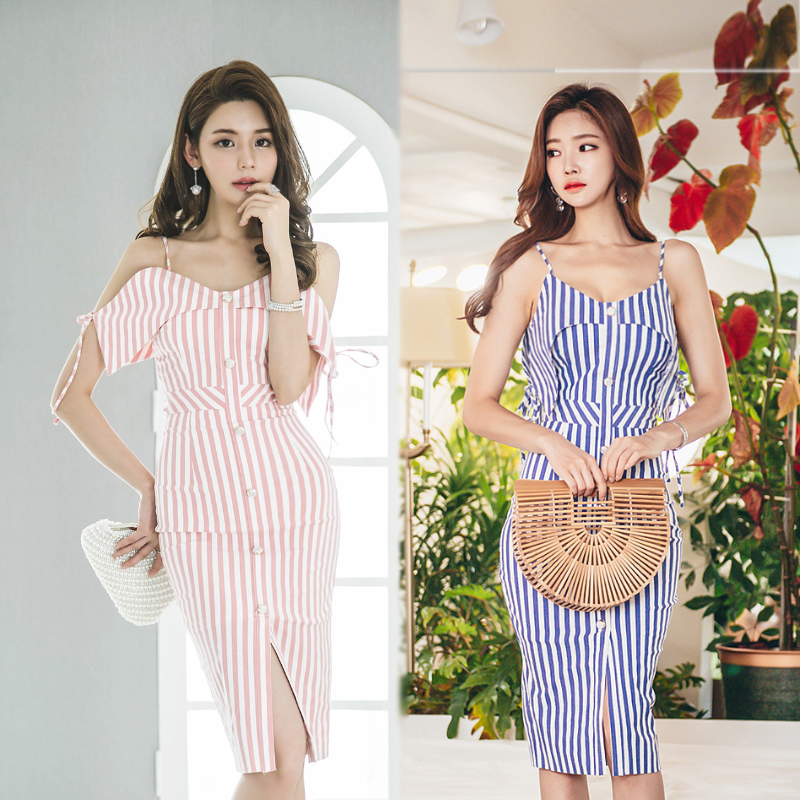 New Fashion Woman Summer Sexy Dress Slim Striped V-neck Sleeveless Spaghetti Strap Elegant Casual Party Dresses