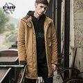 Um ladrão Parkas Algodão-acolchoado jacketdovetail cáqui ocasional Bordado bolsos leve quente e confortável