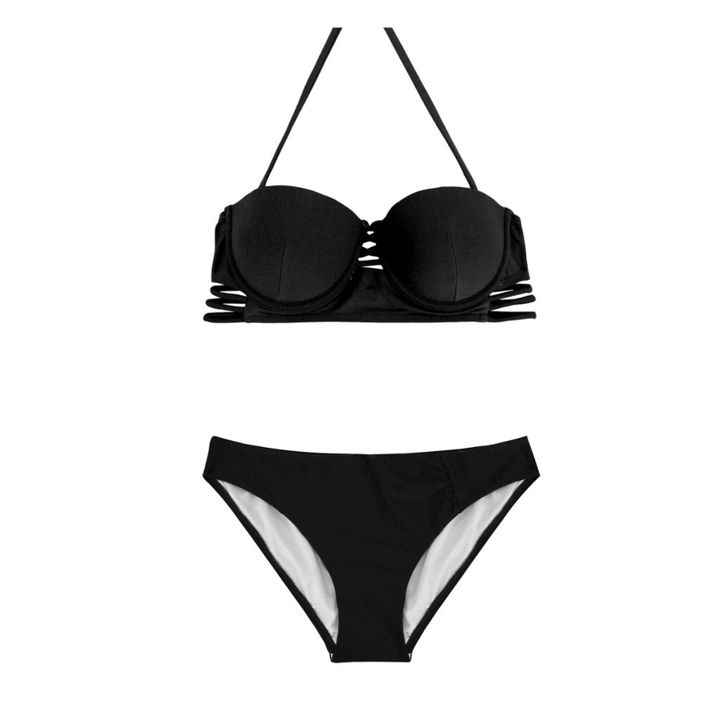 Halter Cutouts Brazilian Bikini Set Hollow Out Sexy Swimwear Women Strappy Swimsuit Female Beachwear Solid Bathing Suit Biquinis halter bikini set 2017 new sexy solid color swimsuit bathing suit swimwear beachwear