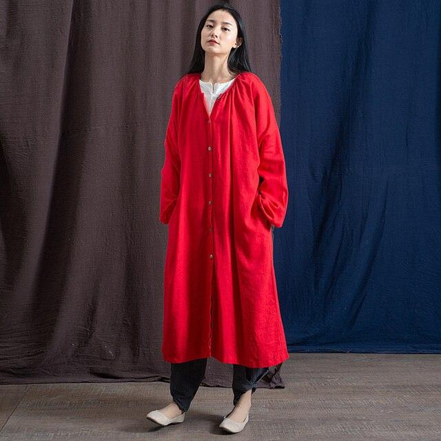 Johnature Phụ Nữ Màu Rắn Băng Rãnh Cotton Linen Cổ Điển Áo Khoác Cộng Với Kích Thước Phụ Nữ Vải 2019 Mùa Xuân Mới Nút Phụ Nữ Rãnh