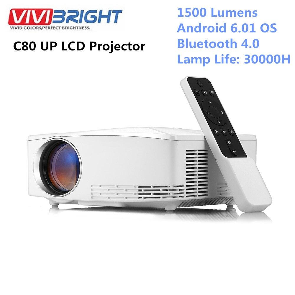 VIVIBRIGHT C80 UP LCD Home cinéma projecteur HDMI 1500 Lumens Support 1080P USB Android Bluetooth 4.0 pour ordinateur portable
