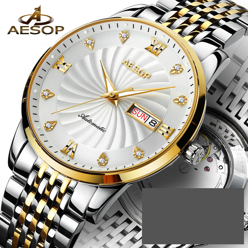Aesop Watch Men Gold Watch Men Automatic Mechanical stainless Steel date week white dial wrist watches relogio masculino