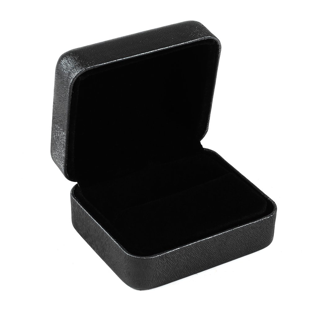 PU Leather Rectangle Jewelry Display Box Double Ring Storage Case Ring Stand Organizer Box Wedding Gift Casket 65*55*35mm