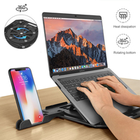 Height Adjustment Laptop Folding Stand For Macbook Lenovo 360 Degree Rotating Bottom Notebook Cooling Pad Bracket Phone Holder