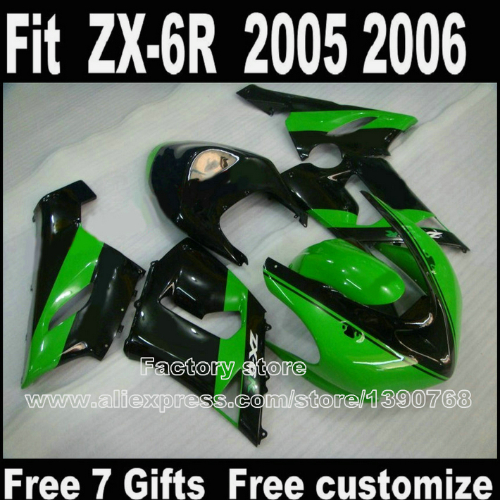 купить High quality fairing kit for Kawasaki ZX6R 2005 2006 ZX-6R 05 06 Ninja 636 green black fairings bodywork set LK92 по цене 21269.62 рублей