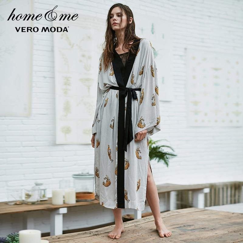Vero Moda  Women's Animal Print Loose Fit Gown Bathrobe | 3174R1502