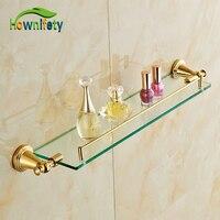 Gold Plate Bath Storage Shelf Wall Mounted Single Tier Cosmetic Rack