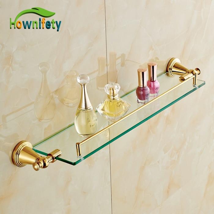 Gold Plate Bath Storage Shelf Wall Mounted Single Tier