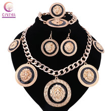Women 5 colors Gold silver plated jewelry sets Trendy with earrings statement necklace for party wedding