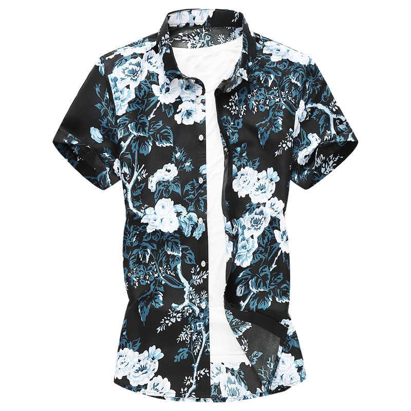 Летняя мужская гавайская рубашка, новинка 2019, свободная, большой размер, 5XL 6XL, короткая рубашка с цветочным принтом, повседневная, с коротким рукавом, Shir, брендовая одежда