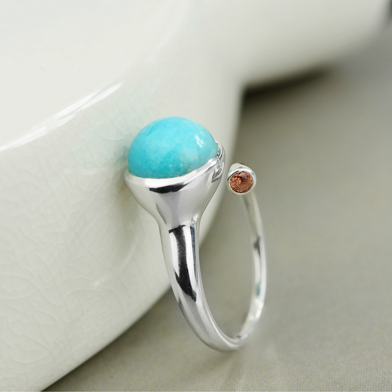 LouLeur 925 Amazonite Stone Rings Sterling 925 Silver Mosaic Zircon Natural Amazonite Rings Fashion Charms Jewelry For Wome